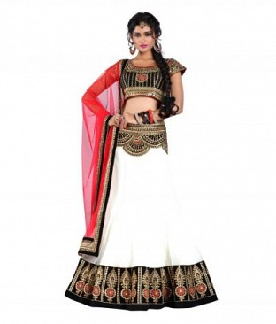 Lady Fashion Villa white designer sarees @ Rs1014.00