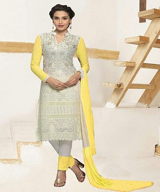 THANKAR WHITE AND YELLOW CHIFFON STRAIGHT SUIT @ Rs1112.00