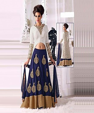 THANKAR WHITE AND NAVY BLUE CHIFFON STRAIGHT SUIT @ Rs1853.00