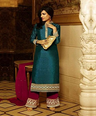 THANKAR DARK CYAN AND PINK HEAVY EMBROIDERY STRAIGHT SUIT @ Rs1730.00