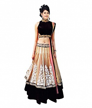 Indian Designer Multi Color Net Embroidered Semi Stitched Lehenga @ Rs3276.00