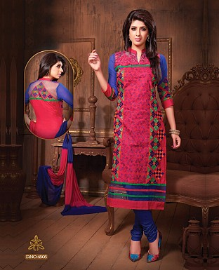 Embroidery Straight Cotton Suit with Dupatta@ Rs.300.00
