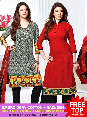 Embroidery Cotton Suit with Dupatta Combo Offer Buy Rs.1029.00