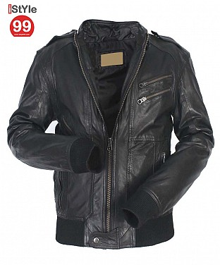 Black Gents Leather Jacket @ Rs6690.00