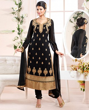 sayali latest black gold Straightfit salwar suit @ Rs2059.00