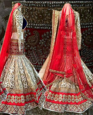 off white and red indian lehenga @ Rs4635.00