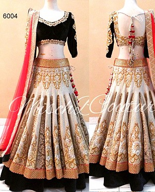 Designer Brocade And Velvet Lehenga @ Rs3523.00