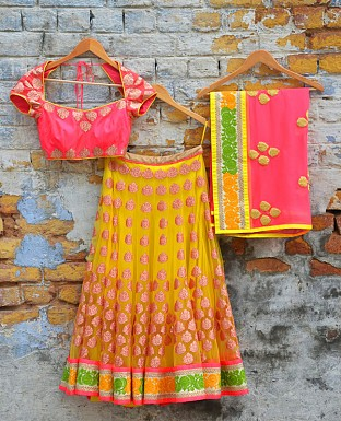 Yellow And Pink Designer Lehenga @ Rs2905.00