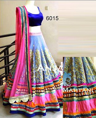 blue and pink designer lehenga @ Rs3770.00