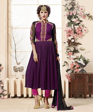 Thankar Latest Heavy Embroidered Designer Wine Pink Anarkali Suits @ Rs2224.00