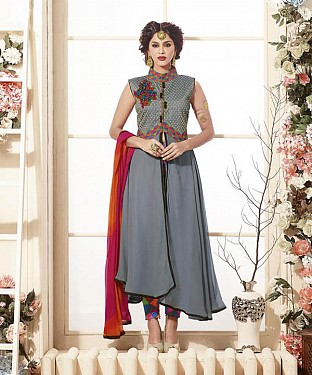 Thankar Latest Heavy Embroidered Designer Grey Straight Suits @ Rs2224.00