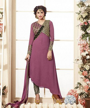 Thankar Latest Heavy Embroidered Designer Pink Straight Suits @ Rs2224.00