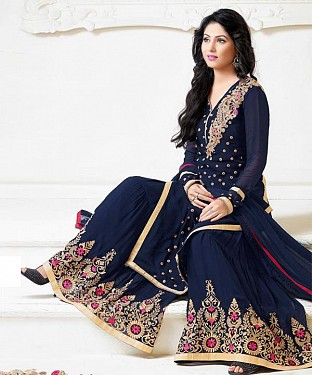 Thankar Latest Heavy Floor Length Designer Navy Blue Anarkali Suit @ Rs1730.00