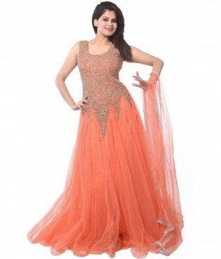 orange kali gown @ Rs864.00