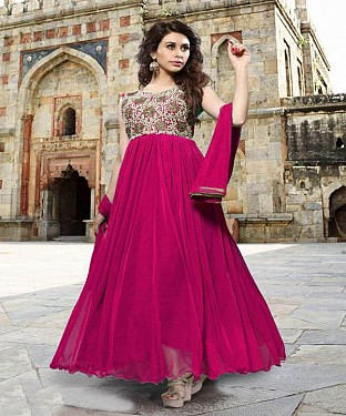Thankar Pink Heavy Designer Georgette Anarkali Suits @ Rs1421.00