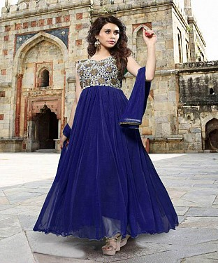 Thankar Blue Heavy Designer Georgette Anarkali Suits @ Rs1050.00