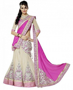 Pink and Off White Embroidered Lengha Choli@ Rs.927.00