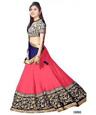 Pink & Royal Blue Designer Lengha @ Rs866.00