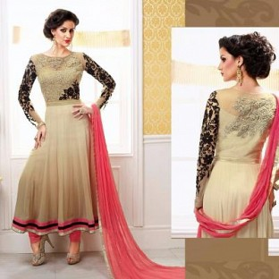 Lady Fashion Villa chiku designer salwar suit @ Rs1076.00