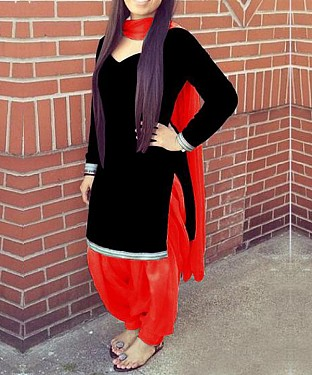 Designer black & red velvet patiyala suit @ Rs1235.00