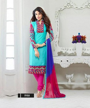 designer Sky colour salwar suit @ Rs1482.00