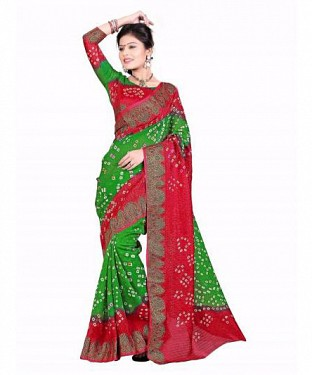 Light Green & Red Color Bandhani Saree With Blouse @ Rs1359.00