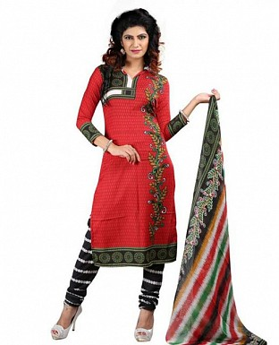 Stunning Red Crepe Printed Dress Materials @ Rs370.00