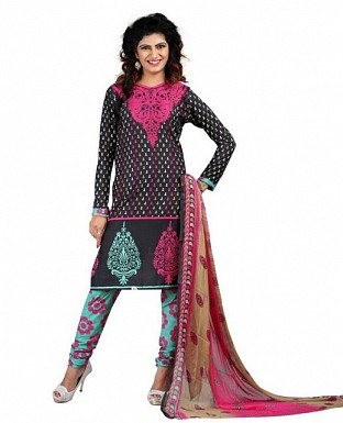 Pink and Black Poly Crepe Printed Dress Materials @ Rs370.00