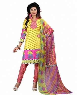 Yellow Solid Printed Poly Crepe Dress Materials @ Rs370.00