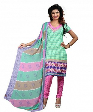 Light Green Crepe Printed Dress Materials @ Rs370.00