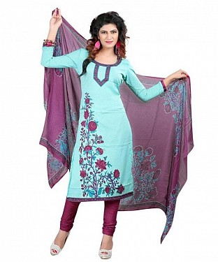 Light Blue Printed Poly Crepe Dress Materials @ Rs308.00
