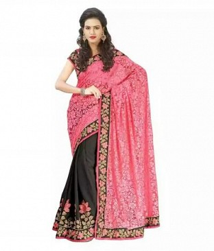 Lady Fashion Villa pink & black designer sarees@ Rs.988.00
