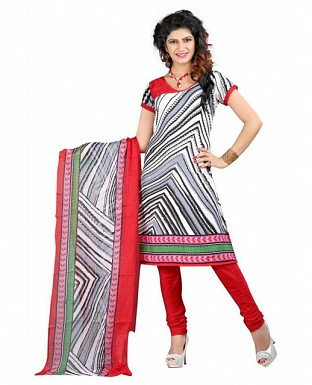 Red and White Poly Crepe Printed Dress Materials @ Rs370.00