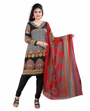 Black and Maroon Crepe Printed Dress Materials @ Rs370.00