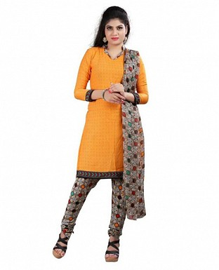 Yellow Stunning Crepe Printed Dress Materials @ Rs370.00