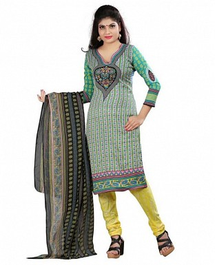 Green and Turquoise Crepe Printed Dress Materials @ Rs370.00