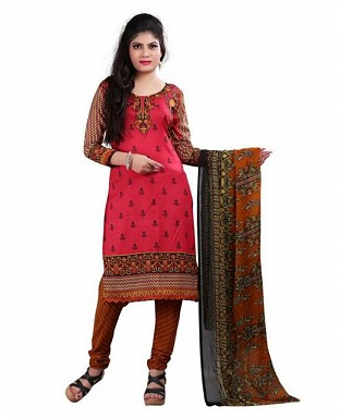 Red Stunning Crepe Printed Dress Materials @ Rs370.00