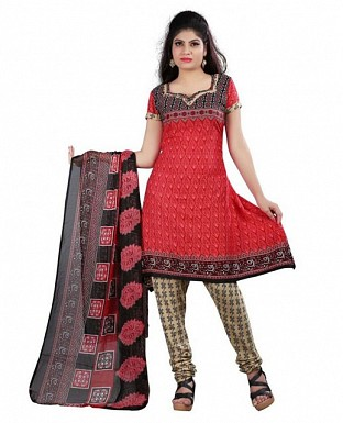 Red and Black Crepe Printed Dress Materials @ Rs370.00