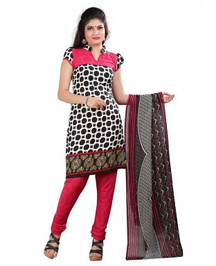 Black and Pink Crepe Printed Dress Materials @ Rs370.00
