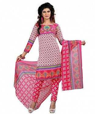 Designer Pink Crepe Printed Dress Materials @ Rs370.00