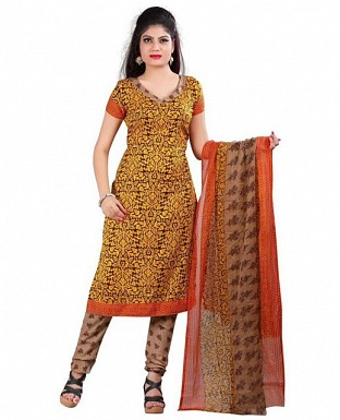 Yellow and Maroon Crepe Printed Dress Materials @ Rs370.00