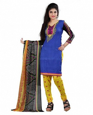 Blue and Yellow Crepe Printed Dress Materials @ Rs370.00