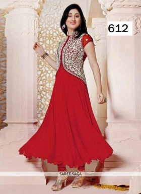 Lady Fashion Villa red designer salwar suit @ Rs680.00