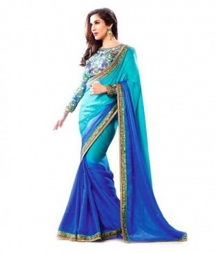 Lady Fashion Villa sky blue designer sarees @ Rs852.00