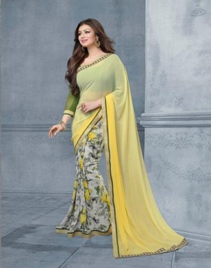 Lady Fashion Villa yellow designer sarees@ Rs.976.00