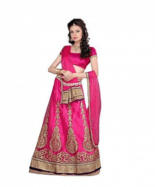 Pink Net Embroidered Unstiched Lehenga Choli And Dupatta set @ Rs1606.00