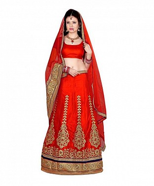 Orange Net Embroidered Unstiched Lehenga Choli And Dupatta set@ Rs.1606.00