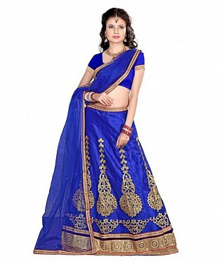 Blue Net Embroidered Unstiched Lehenga Choli And Dupatta set Buy Rs.1606.00