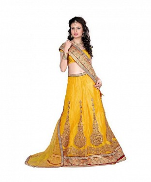 Yellow Net Embroidered Unstiched Lehenga Choli And Dupatta set@ Rs.1359.00