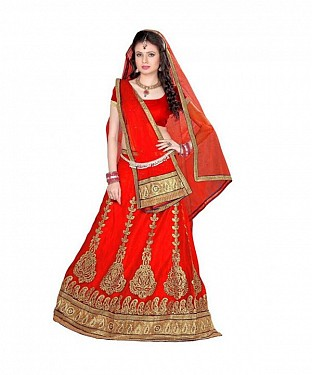 Orange Net Embroidered Unstiched Lehenga Choli And Dupatta set @ Rs1606.00